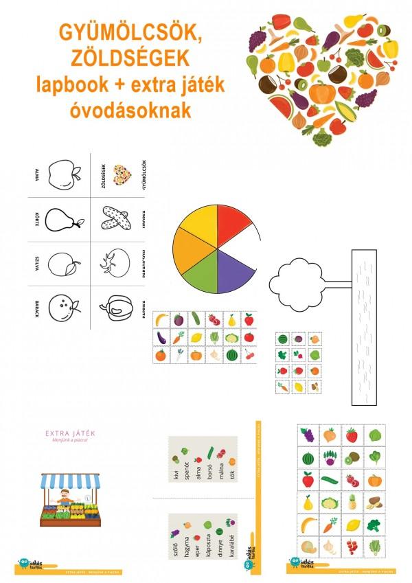 Gyümölcsök, zöldségek - Lapbook csomag óvodásoknak